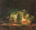 Ιακωβίδης Γεώργιος-Πιατέλα με όστρακα, τριαντάφυλλα, μαργαριτάρια και σκουλαρίκια