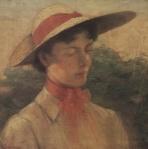 Ιακωβίδης Γεώργιος-Προσωπογραφία γυναίκας με καπέλο