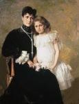 Ιακωβίδης Γεώργιος-Προσωπογραφία της κυρίας Στεφάνου Ράλλη και της κόρης της, 1905