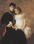 Ιακωβίδης Γεώργιος-Προσωπογραφία της κυρίας Στεφάνου Ράλλη και της κόρης της