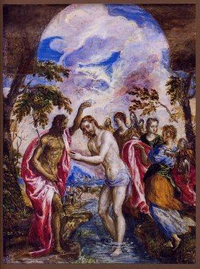 El Greco-Η Βάπτιση του Χριστού, Baptism of Christ, 1569 (Ιστορικό Μουσείο Κρήτης, Ηράκλειο)_1