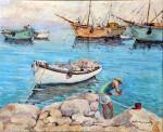 Ιωαννίδης Βίκτωρ-Fishermen at the old port of Limassol, 1973