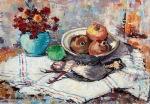 Ιωαννίδης Βίκτωρ-Flowers, pomegranates and a grouse, 1972